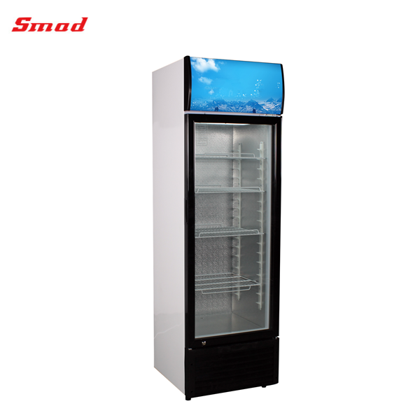 New Fan Cooling Design Upright Single Glass Door Display Showcase Chiller