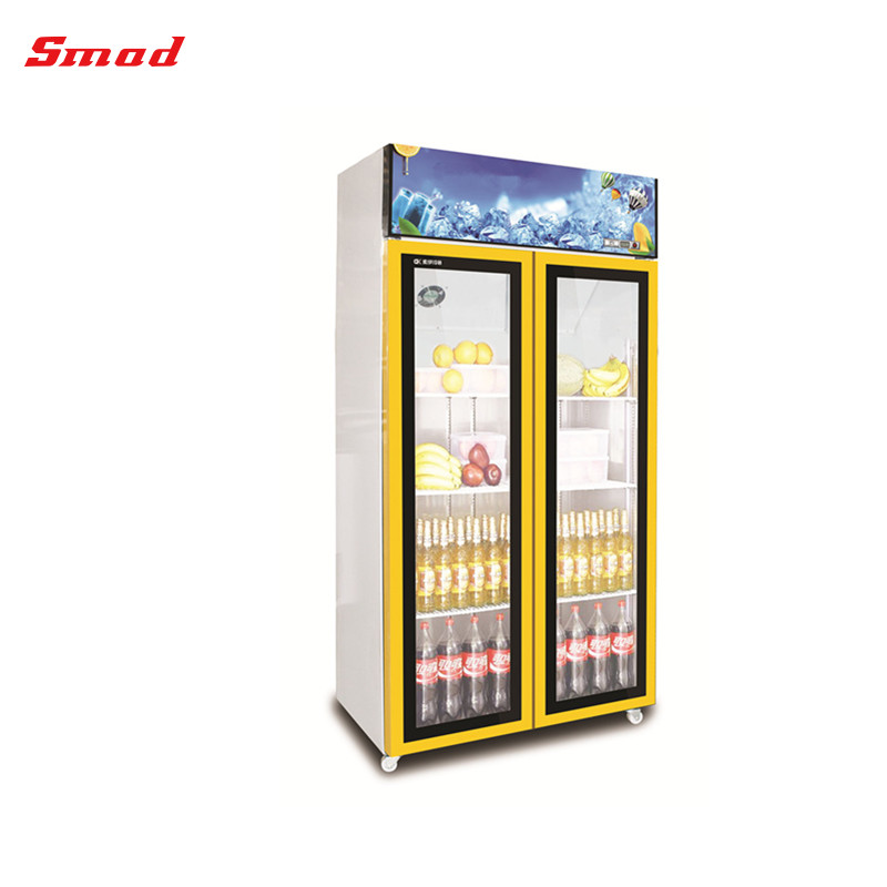 Fan Cooling Glass Two Doors Upright Showcase for Drink Beverage