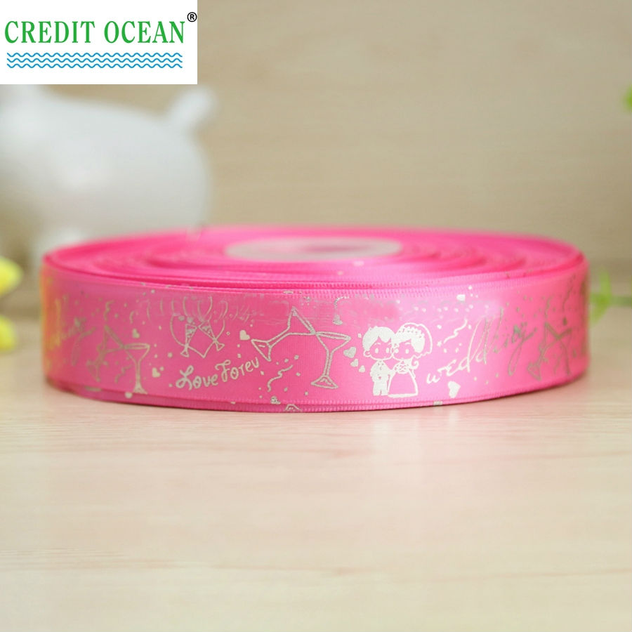 CREDIT OCEAN Custom brand logo printed satin ribbon for gift
