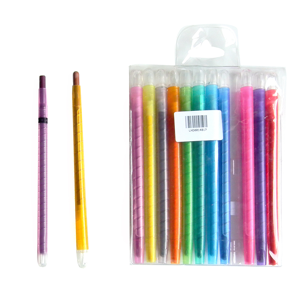 CRT12 12 pcs twistables colored pencil crayons PVC bag school supplies