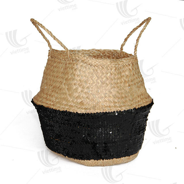 Foldable seagrass belly basket/ Toy storage basket Sale