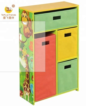 Wooden Cabinet and Fabric Bins