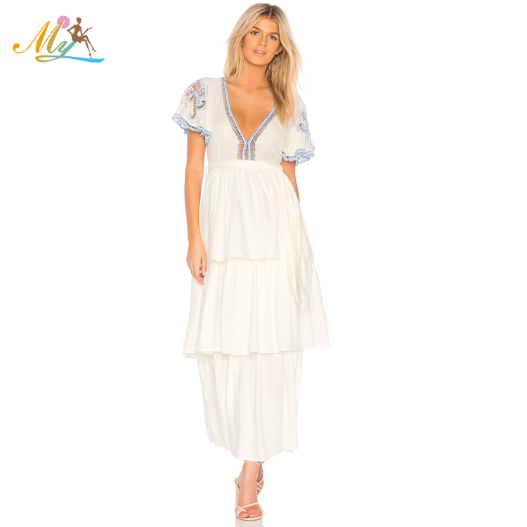 High quality sexy deep V neck short sleeve maxi dresses for women for sale