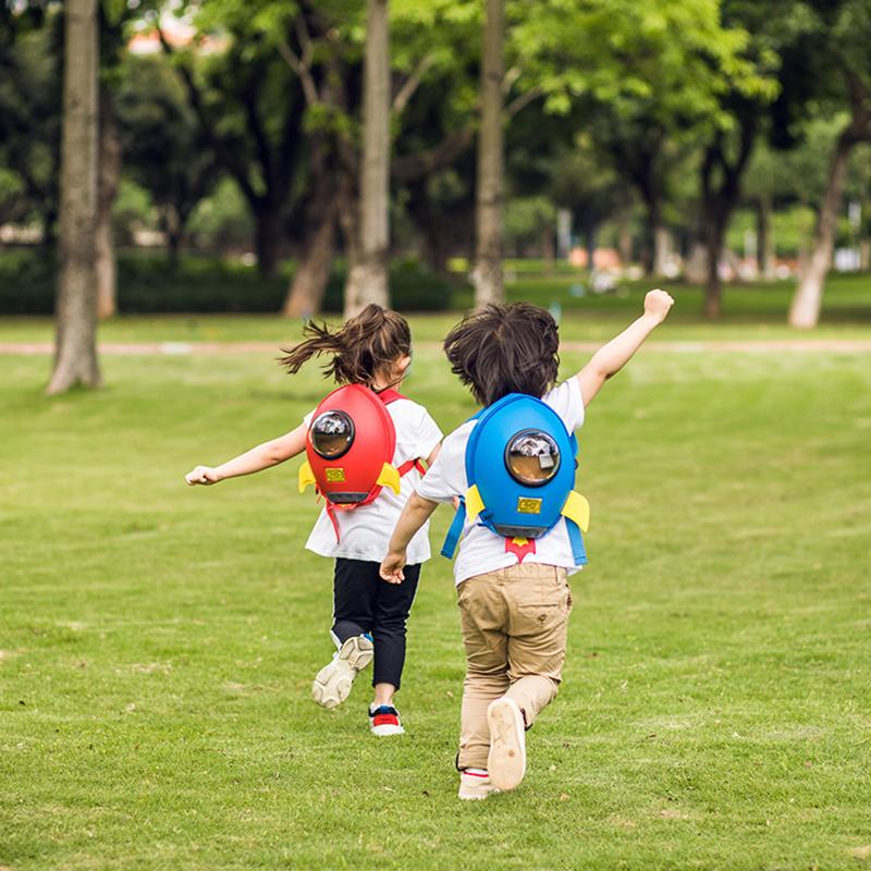SUPERCUTE blue Rocket shape 3D kids school backpack bag for sale
