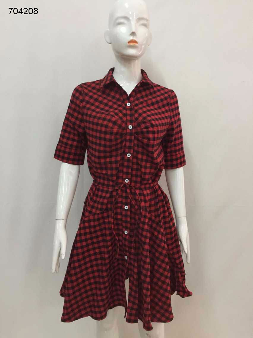 wholesale clothes casual clothes red and black check print shirt dress for women ladies for sale