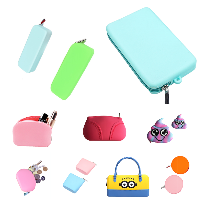 CB10 Custom Print Reusable Travel Pocket Silicone Cosmetic Wallet Storage Case Coin Purse Key Bag for sale