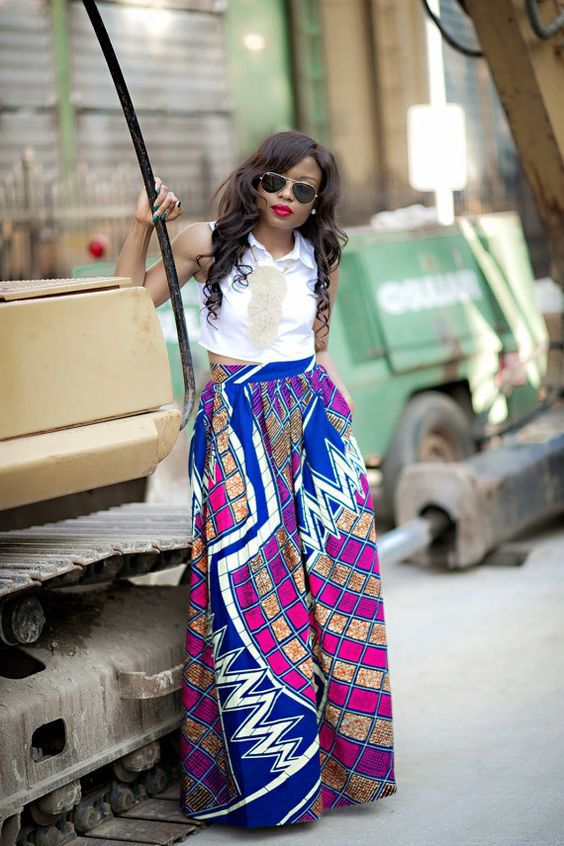 Digital printing plaid high waisted african kitenge pleated maxi long skirt for women for sale