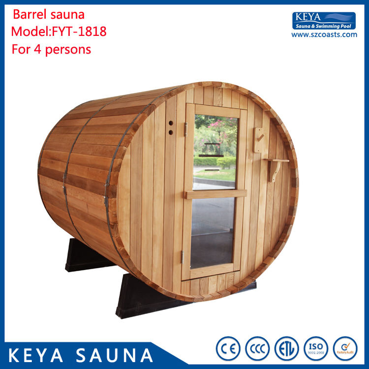 Factory price family good option wooden barrel Sauna room For Sale