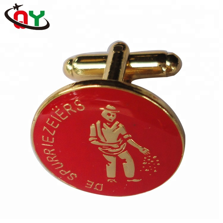 Smart Zinc Alloy Die Casting Gold Plated Cufflinks Custom Pattern Uniform Unisex Custom Cufflink For sale