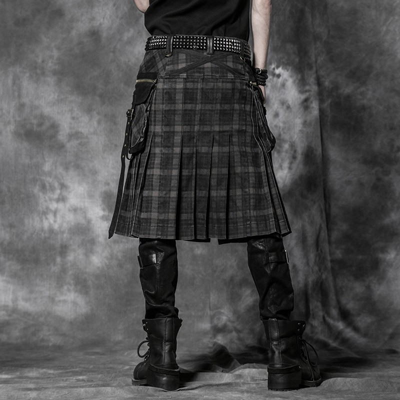 Q-225 Punk Rave Scottish men kilts check pattern long dacing skirts for sale