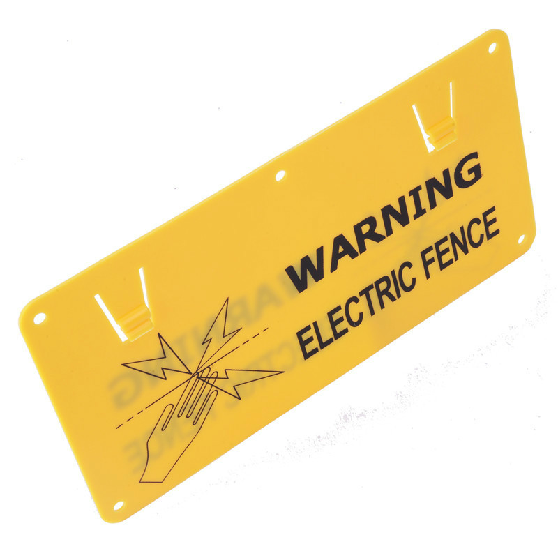 Double printed PP material yellow electric fence warning sign for sale