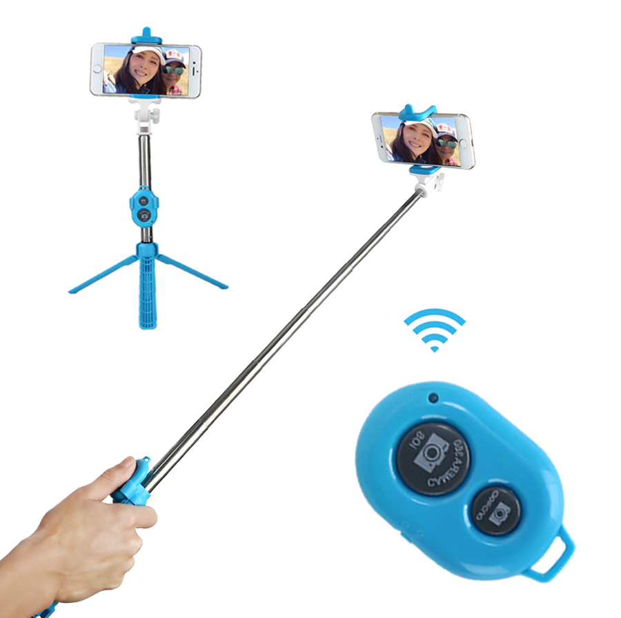 HAISSKY 270 Rotation BT Wireless Remote Control Stand Selfie Stick For Mobile Phone for sale