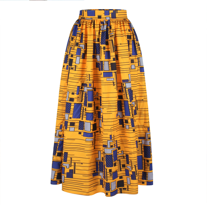 Top selling wholesale summer digital Print lady long maxi african skirts yellow for sale