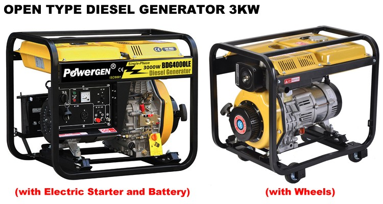POWERGEN 3000W Single Phase Air-cooled Open Type 50/60Hz Portable with Wheels Generator Diesel 3KVA with Price for sale