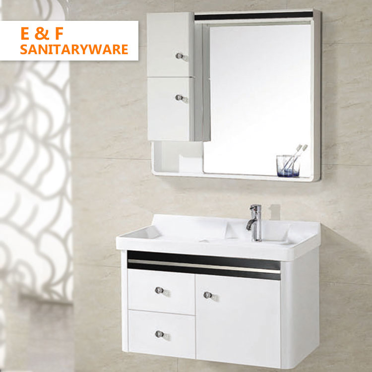modern bathroom vanity makeup dresser set with mirror hotel 36 inch wall-mounted white bathroom vanity cabinets with wash basin For Sale