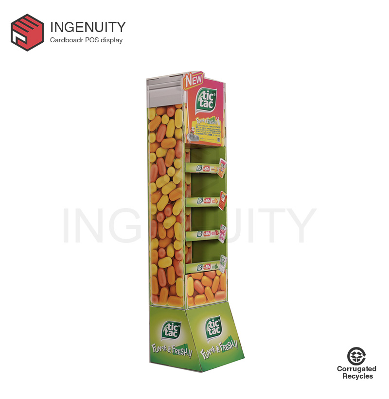 floor standing cardboard display rack for chutty