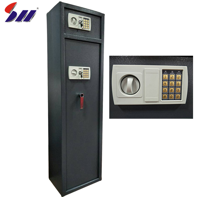 Hot-rolling steel 8 pieces gun capacity hidden furniture digital password safe box for rifles for sale