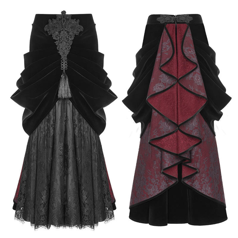 WQ-364 PUNK RAVE Gothic Palace Gorgeous girls sexy long half pleated skirt for sale