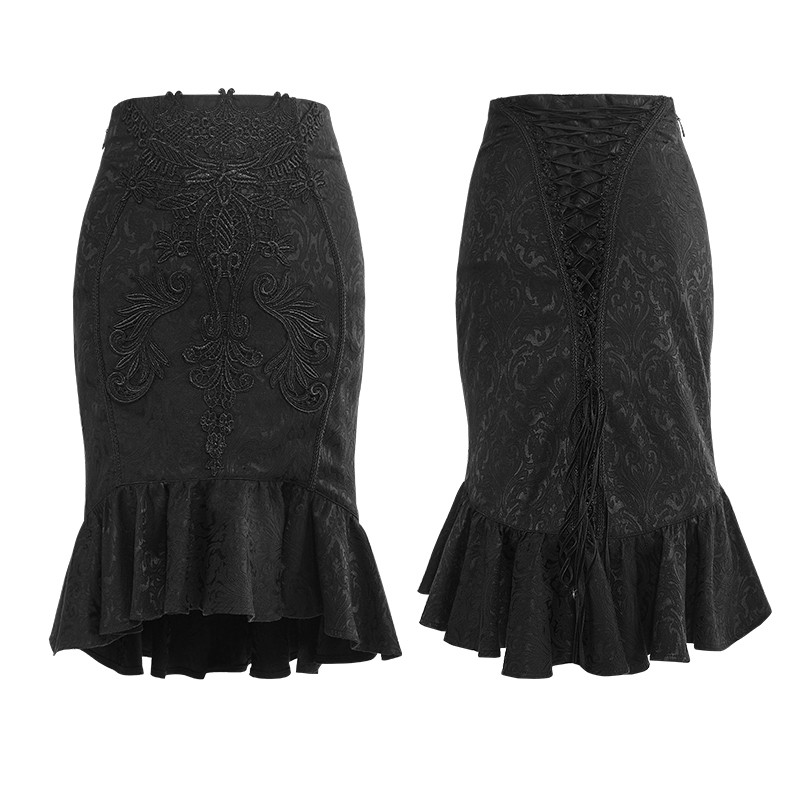 Q-303 PUNK RAVE Gothic Vintage Palace Fishtail Skirt knee Length high pencil skirt for sale
