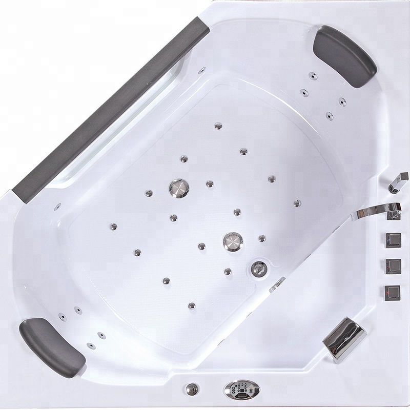 Anti slip triangular water jet bathtub with cushion For Sale