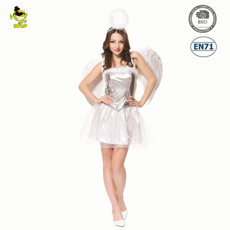 Carnival Angel costume with wings Party white sexy angel dress costume for sale