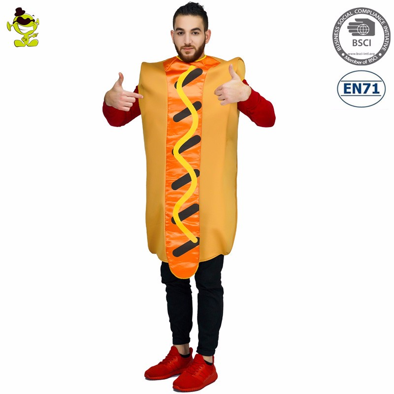 2017 halloween costume hot dog jumpsuit party cartoon costume men for sale