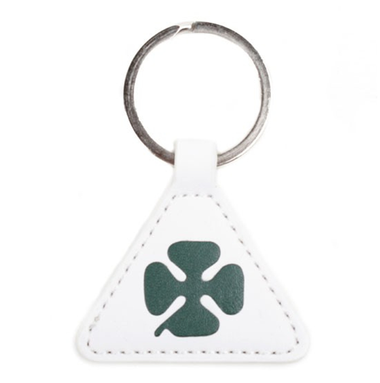 BG-9110 White Triangle Keyring/Keyrchain/Key Holder Leather Covered Door Access Card with Metal Ring