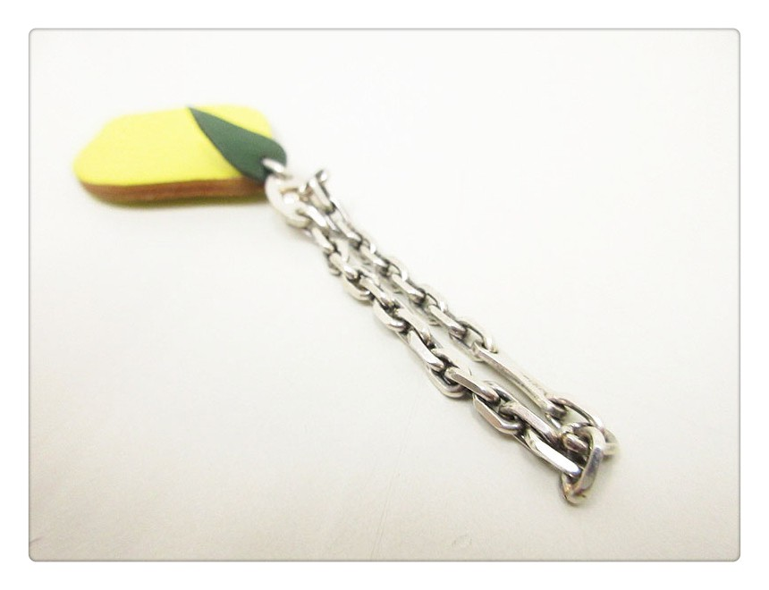 BG-9117 Charm Key Ring Keychain Lemon Motif Yellow Leather RFID Card Access for Door/Bus/Payment
