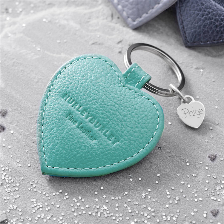 BG-9107 Custom Logo Textured Leather Heart Charm Keyring,PU Leather Cover Brush Door Lock Cards or Access Control System