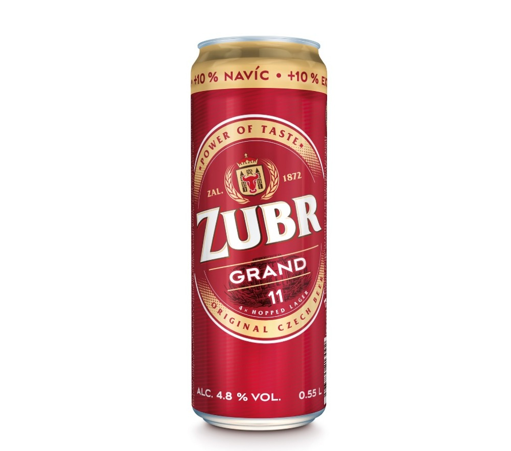 Czech Premium quality lager beer Zubr Grand 550 ml can