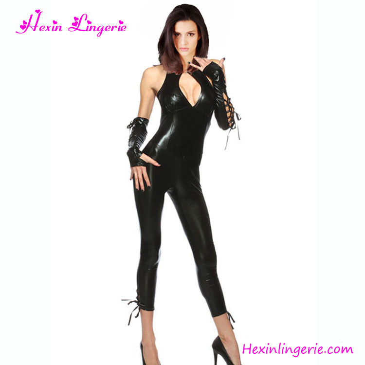 Wholesale Hexin Lingerie Sexy Ladies PVC Faux Leather Catsuit for sale