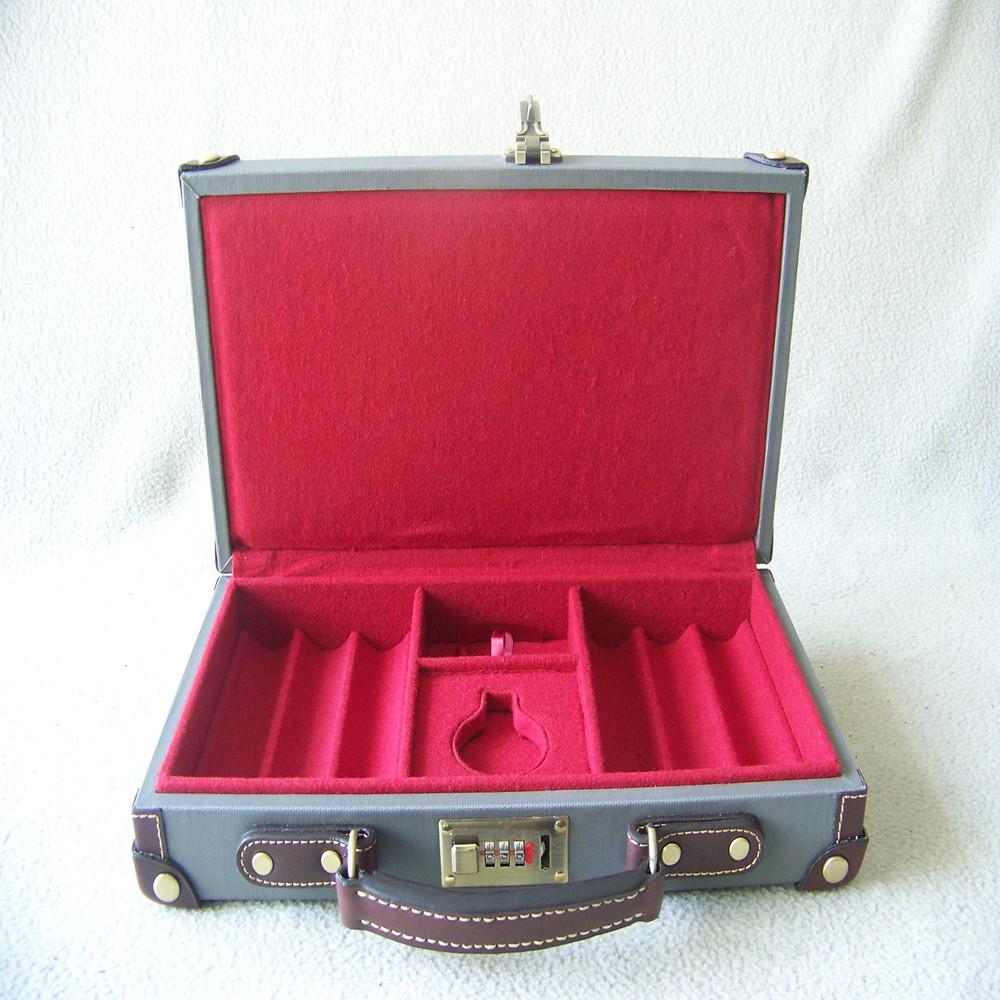 Fancy poker chip set canvas and wooden premium fancy poker chip case