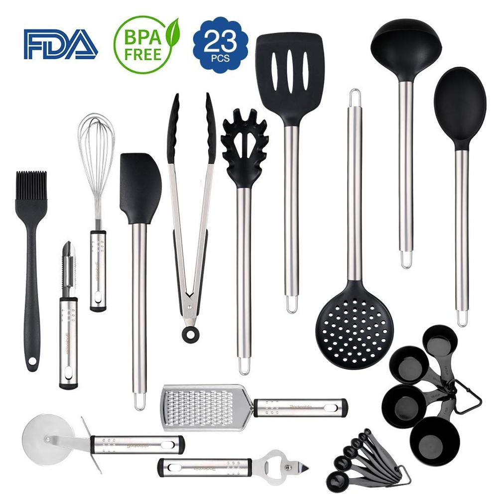 Factory Direct Selling 23 Piece Silicone Kitchen Accessories Utensils Tool Set with Stainless steel handle for sale