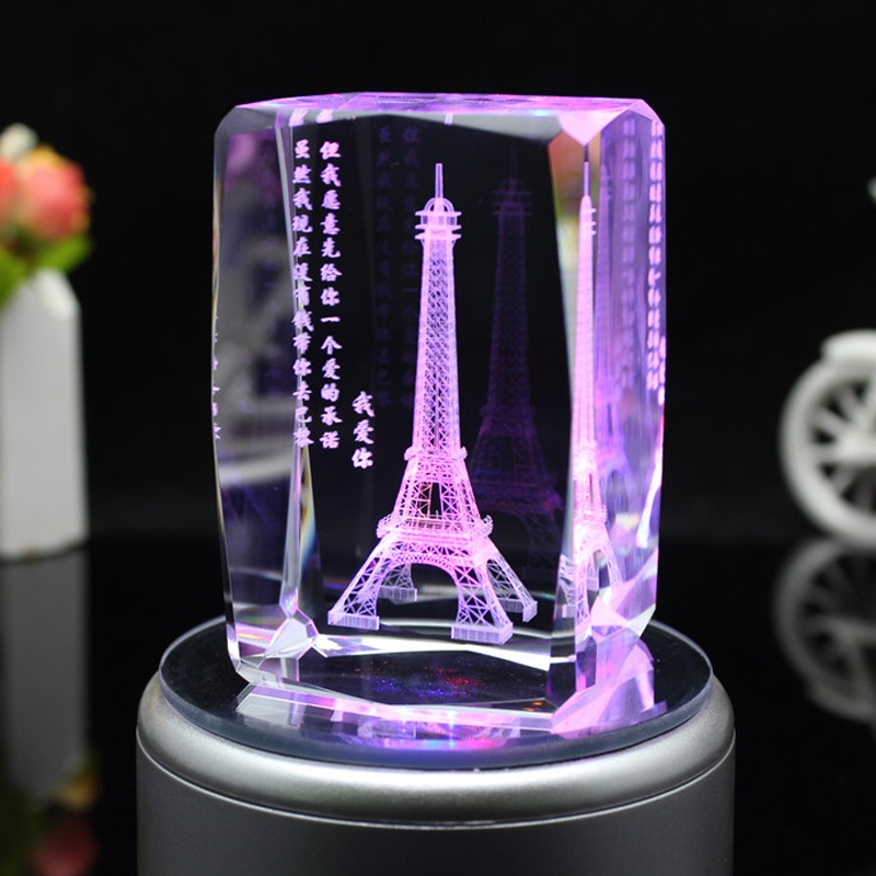 3d laser engraved crystal cube for Christmas gifts for sale