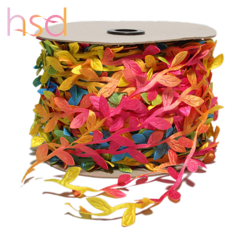 HSD rainbow colorful leaf ribbon Ultrasonic embossed ribbon for sale