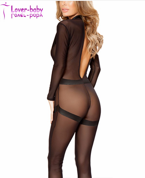 Long sleeve bodystocking Sheer leather catsuit With V-Detail L15516 for sale
