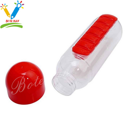 BTM-PB002 OEM LOGO Printing Eco Friendly Plastic Water Bottle with Pill Box for Traveling