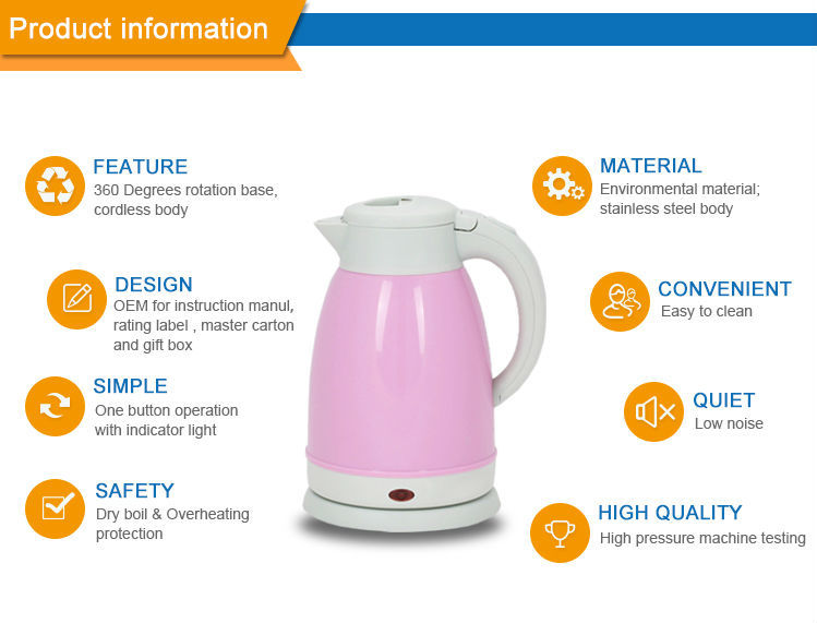 New ABS pink cordless double layer warm keep kettle factory for sale