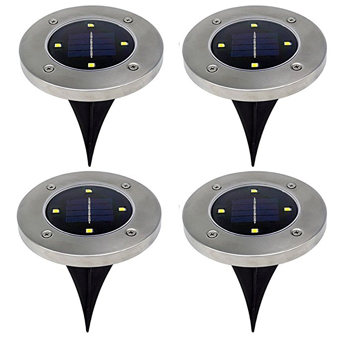 4 Pack Solar Powered Ground Lights, 4 LED Solar Path Lights Outdoor Waterproof Garden Lighting sale