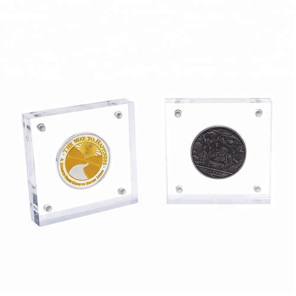Acrylic Coin Display Stand Lucite Cion Capsule Acrylic Coin/Poker Chip Display Holder Case