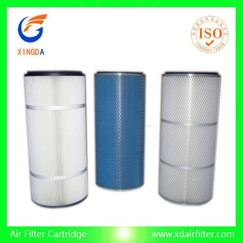 Cylindrical cartridge cellulose fiberglass material industrial dust collect air filter sale