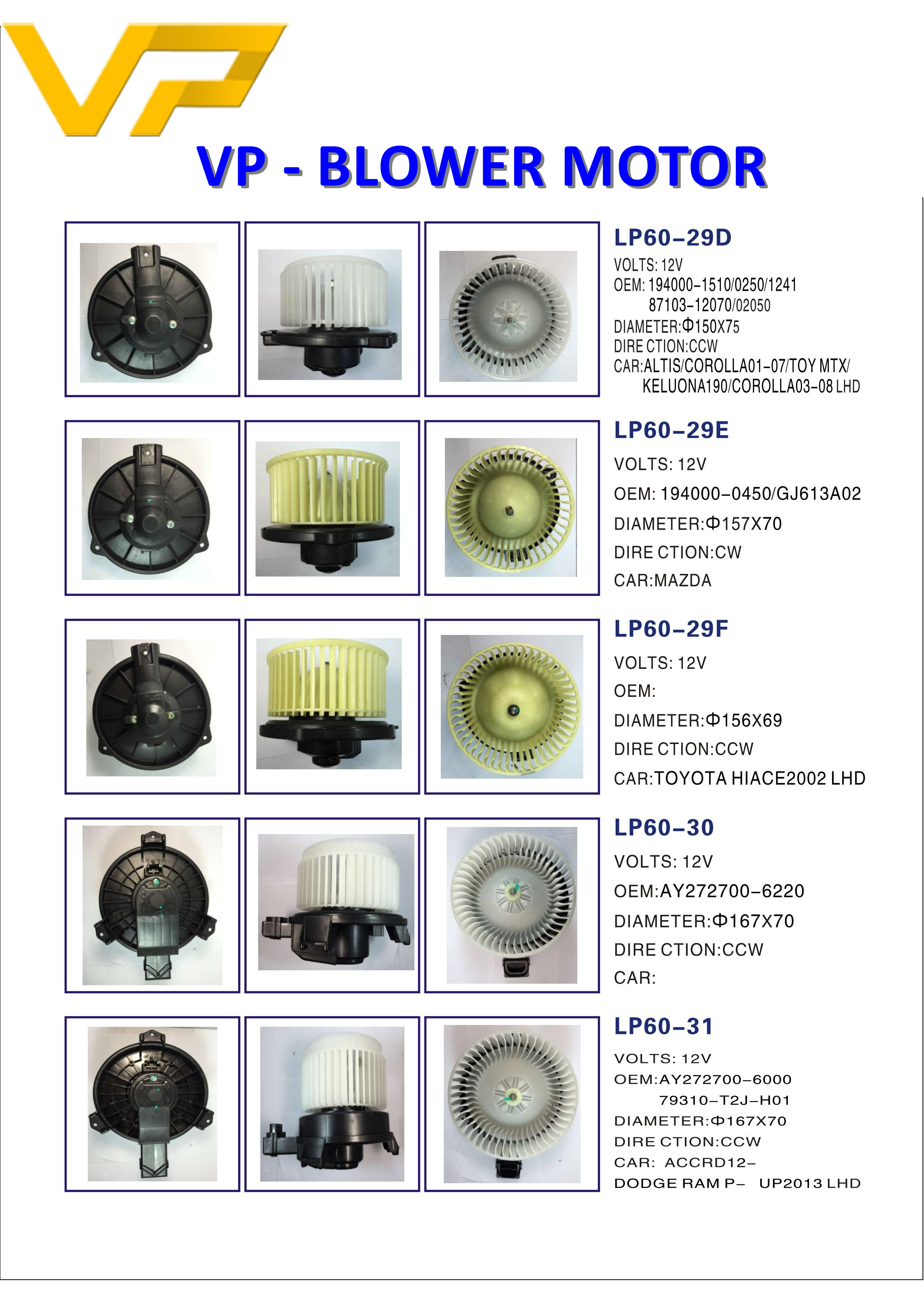 Blower motor for car air conditioner system