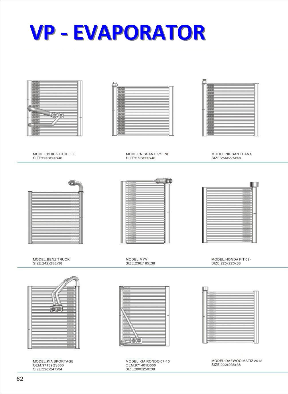 Evaporator for different models of car Toyota,Honda,Mitsubishi