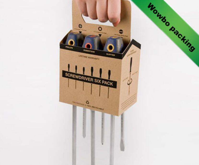 Wowbo kraft paper 6 pack tool carrier with handle for sale