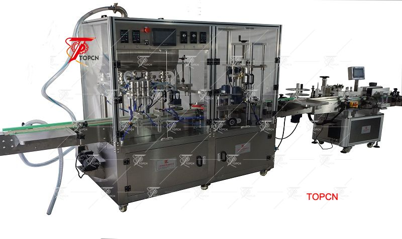 Automatic Inline Type pharmaceutical 4 heads syrup filling machine and capping