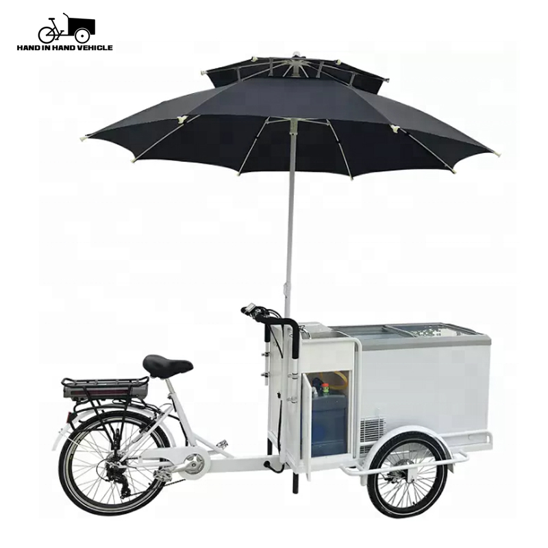 Street electric rechargeable freezers food bike ice cream cart for sale