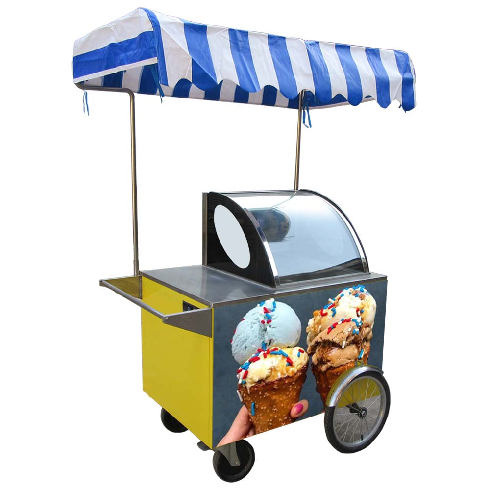 CE certification approved Italian Gelato Ice Cream mobile push Popsicle Showcase Freezers vending machine cart