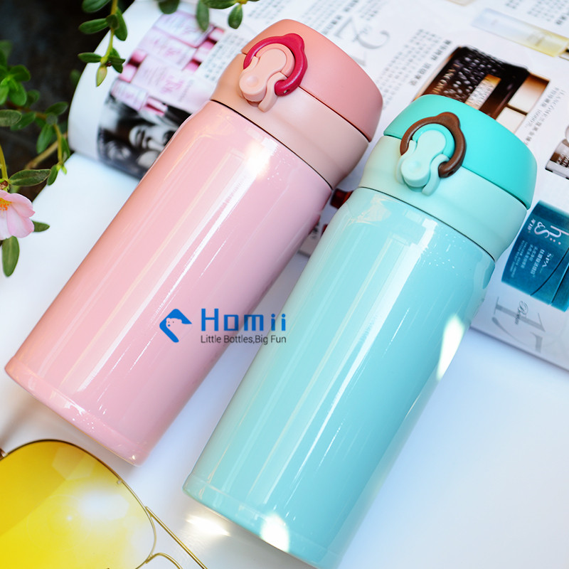 Hangzhou homii Industry 500ml Travel Coffee Flask Stainless Steel Vacuum Insulated push botton drinking sport bottles