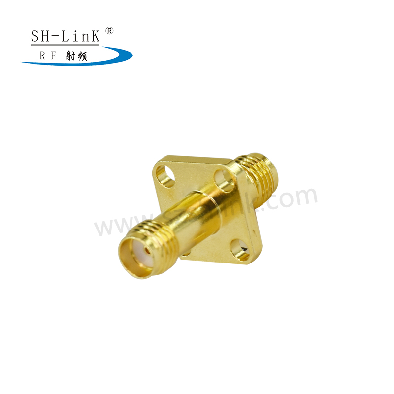 SMA Female to SMA Female Bulkhead 4 Hole Flange Mount Connector Adapter