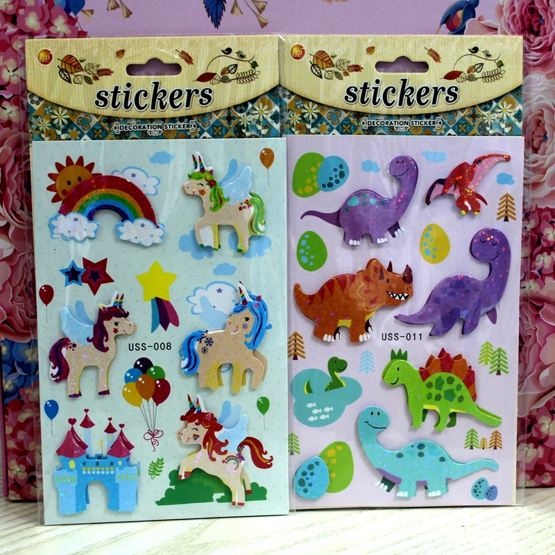 3D Double Layer Sticker-Ponies and Dinosaurs